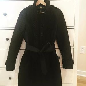 BURBERRY quilted black trench coat. Sz. 6